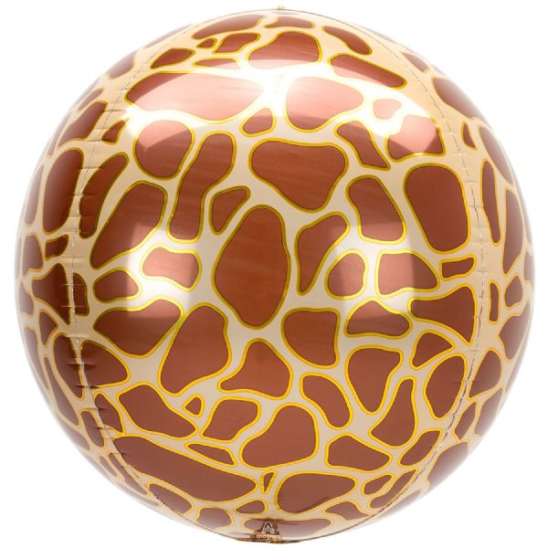 Animalz Giraffe Print Round Orbz 15in Balloon